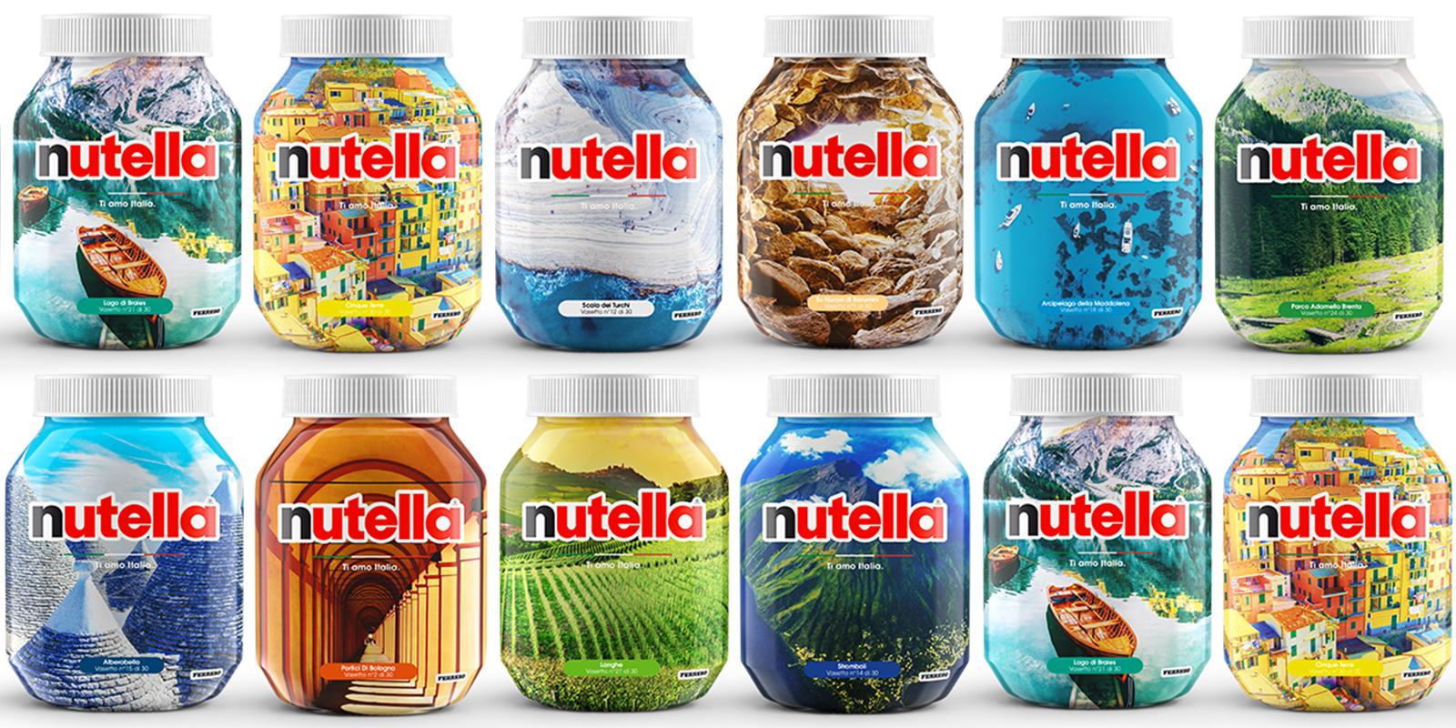 Un tour virtuale della penisola italiana sui barattoli Nutella banner